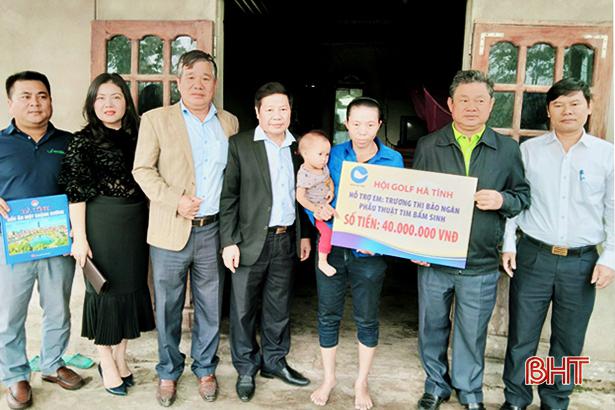 Hội Golf Hà Tĩnh tài trợ 220 triệu đồng tiền phẫu thuật cho 2 trẻ em bị bệnh tim